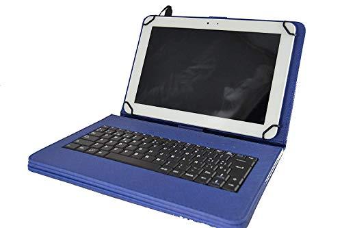 theoutlettablet Schutzhülle mit Abnehmbarer Tastatur für Tablet Lenovo TB-X103F 10,1 Zoll, Blau