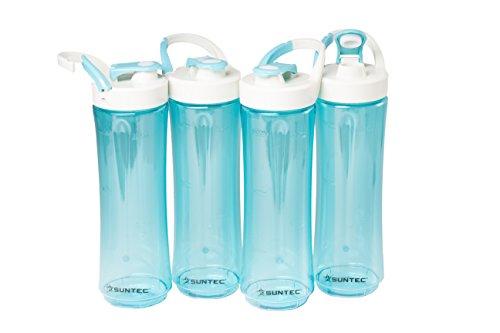 SUNTEC Smoothie Maker Flaschen Set SMO-KIT-9950 | 4 Trinkflaschen 600ml To Go für Smoothie-Mixer BPA-Frei Kunststoff | Mixbehälter für Shakes Spülmaschinenfest mit Deckel
