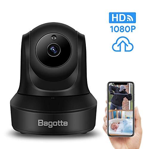 Bagotte Cámara IP, Camara Vigilancia WiFi Interior 1080P con Micrófono y Altavoz, Visión Nocturna, Detección de Movimiento, Cámara de Bebé/Mascota, Almacenamiento en la Nube y 128GB Tarjeta MicroSD