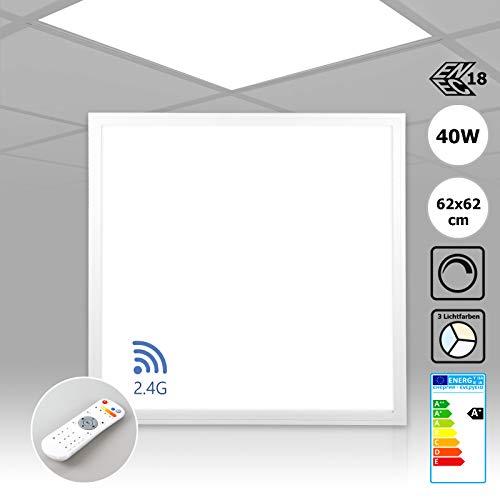 Preisvergleich Produktbild LED Panel dimmbar 62x62 mit Fernbedienung 40W Einbauleuchte Lichtfarbe umschaltbar warmweiß neutralweiß tageslichtweiß Deckenlampe Einbau Rasterleuchte Xtend Serie PLs3.0