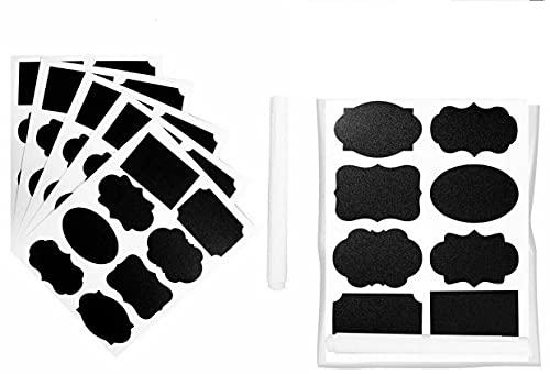 EliteKoopers Paquete de 1 pegatinas de pizarra reutilizables de forma aleatoria con 1 lápiz de tiza líquida para tarros de mason, fiestas, etc.