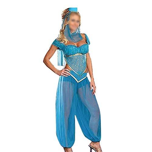 MAXIAOTONG Adems de los Trajes de tamao XL Atractivo del Traje de la Princesa Jasmine Adultos Mujeres del Vientre Traje de la Danza rabe Rendimiento Carnaval de (Color : Azul, Size : XL)