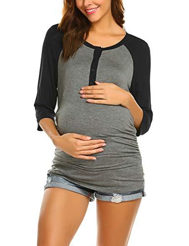 MAXMODA Koszulka damska do karmienia piersią, moda ciążowa, bluzka ciążowa S-XXL