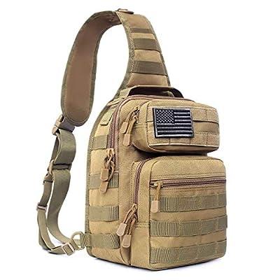Tactical Sling Bag Pack Military Rover Shoulder Sling Backpack Molle Assault Range Bags Chest Pack Day Pack Diaper Bag (Tan)