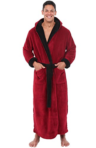 Alexander Del Rossa Men's Warm Fleece Robe with Hood, Big and Tall Bathrobe, Large XL Burgundy with Black Contrast (A0125BRBXL)