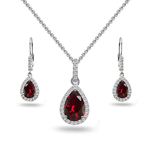 Sterling Silver Synthetic Ruby & White Topaz Teardrop Halo Dangling Necklace & Leverback Earrings