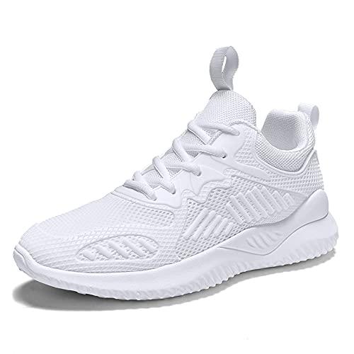 Entrenadores Hombres Zapatillas de Deporte, Zapatos Deportivos de Entrenamiento de Tenis en el Exterior Casual Zapatos de Atletismo de Malla Transpirables,Blanco,39