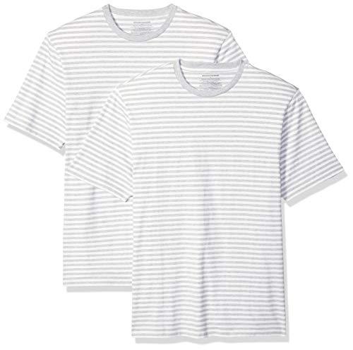 Amazon Essentials, locker sitzende Herren-T-Shirt mit Rundhalsausschnitt und kurzen Ärmeln, Grau(Light Grau Heather/White), S , 2er Pack