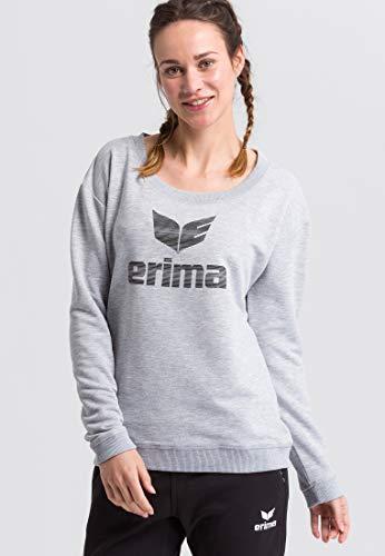 Erima 2071925 Sweat à Capuche Femme, Gris Clair Chiné/Noir, FR : M (Taille Fabricant : 38)