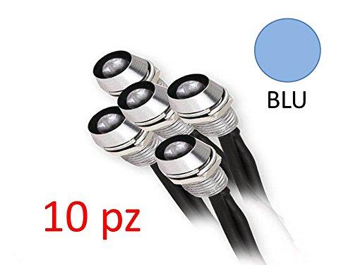 10 x 12V Spia LED cablato con portaled cielo stellato faretto incasso downlight barca camper holder 5mm (BLU)