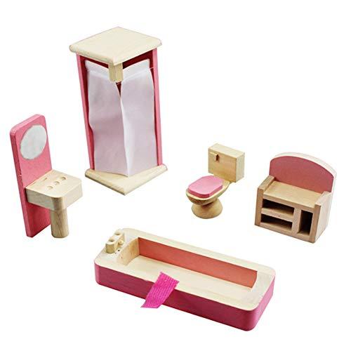 Jorzer Bambola Casa Mobili Giocattolo in Legno 1:12 Scala Bilancia in Miniatura Set da Bagno Set di Bambole Accessori Fai da Te Accessori per Ragazze Bambole in Legno Casa - Rosa