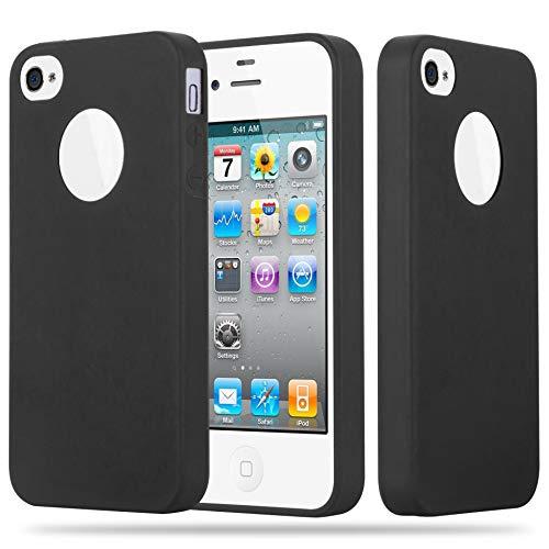 Cadorabo Custodia per Apple iPhone 4 / iPhone 4S in Candy Nero - Morbida Cover Protettiva Sottile di Silicone TPU con Bordo Protezione - Ultra Slim Case Antiurto Gel Back Bumper Guscio