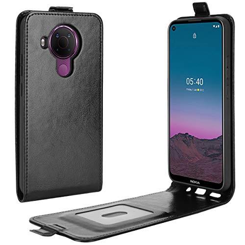 LMFULM® Hülle für Nokia 5.4 (6,39 Zoll) PU Leder Magnet Brieftasche Lederhülle Handytasche Up-Down-Flip Design Stent-Funktion Ledertasche Cover Schwarz