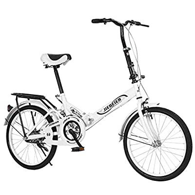 20 Inch Folding Bike for Adult Men and Women Teens, Mini Lightweight Foldable Bicycle for Student Office Worker Urban Environment, High Tensile Aluminum Folding Frame with V Brake Rear Rack (White)