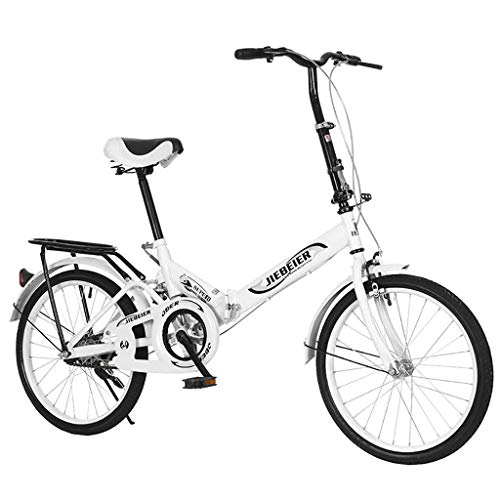 TOUNTLETS Adults Folding Bike, 20 Inch Wheels Bikes Cycling, Cruiser Bikes Small Bicycle Unisex Ladies Students Ultra Light Portable Women's City Riding Men Bicycles for Travel Go Working (White)