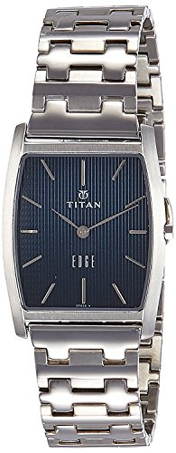 Titan Edge Men's Designer Watch – Slim, Quartz, Water Resistant, Stainless Steel Strap - Silver Band and Black Dial