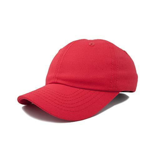 Dalix Unisex Unstructured Cotton Cap Adjustable Plain Hat, Red