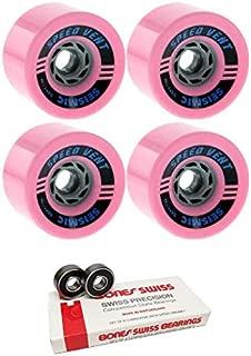 Seismic Skate Systems 85mm Speed Vent Defcon Bubblegum Skateboard Wheels - 77a with Bones Bearings - 8mm Bones Swiss Skateboard Bearings (8) Pack - Bundle of 2 Items