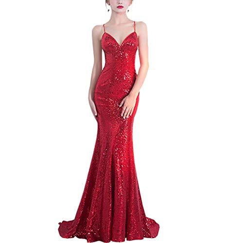 DISCOUNTL Ms. Unique Schulterfreies Meerjungfrauenkleid, elegante Kleider für Frauen Abendparty, Maxikleider für Frauen Abendkleid, Ballkleider & Abendkleider Gr. Small, rot