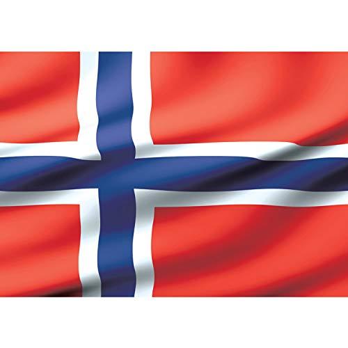 Vlies Fototapete PREMIUM PLUS Wand Foto Tapete Wand Bild Vliestapete - Norwegen Flagge Skandinavien - no. 2704, Größe:152.5x104cm Vlies