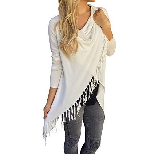 OSYARD Damen T-Shirt Oberseiten Pullover Sweatshirt, Frauen Langarm Hemd Kleidung Pulli Tunika Quaste Hem Rundhalsausschnitt Strickjacke Bluse Tops Shirt Elegant Strickpullover (L, Weiß)
