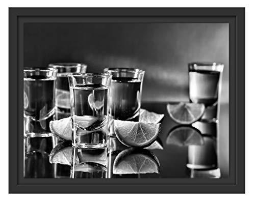 Picati Tequila met limoen in schaduwvoegen fotolijst | kunstdruk op hoogwaardig galeriekarton | hoogwaardige canvasfoto alternatief 38x30