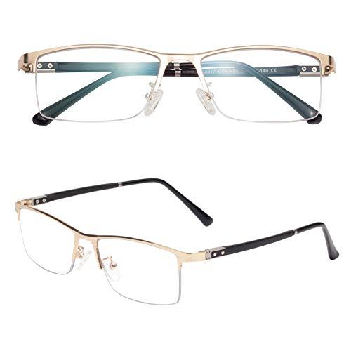 老眼鏡 軽いブルーライトカットメガネ ハーフリム ケース付き メンズ レディース おしゃれ リーディンググラス 度付き TR2317 ゴールド 度数+200