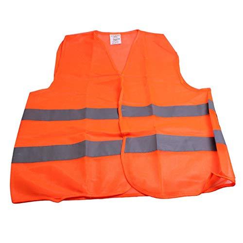 Raya Reflectante Chaleco de Advertencia de tráfico Ropa de Trabajo Chaleco Protector de Alta Visibilidad para el saneamiento Trabajador Asistente Policía - Naranja Fluorescente