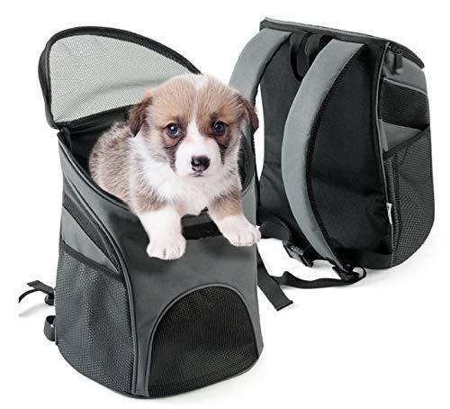 Seneng 1 mochila de viaje para mascotas, mochila de hombro, mochila para mascotas, resistente, transpirable, antipérdida, adecuada para gatos y perros (gris, 29,5 x 35 cm)