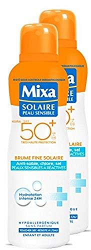 Mixa Brume Solaire Protection pour Peaux Sensibles à Réactives SPF50+ 200 ml - Lot de 2