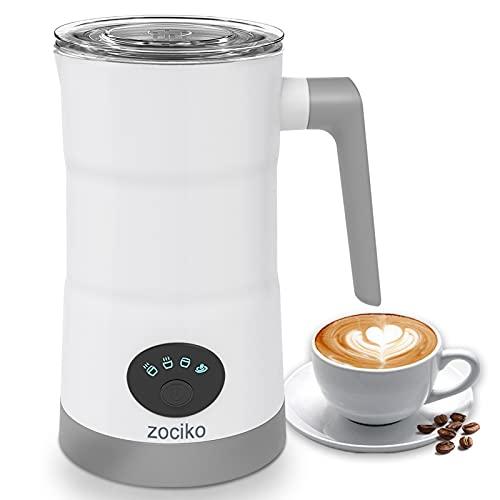 Montalatte elettrico ZOCIKO, Macchina automatica per schiuma di latte per latte caldo o freddo con funzione di riscaldamento, Doppio Rivestimento Antiaderente, Caffè, Latte, Cappuccino, Cioccolato