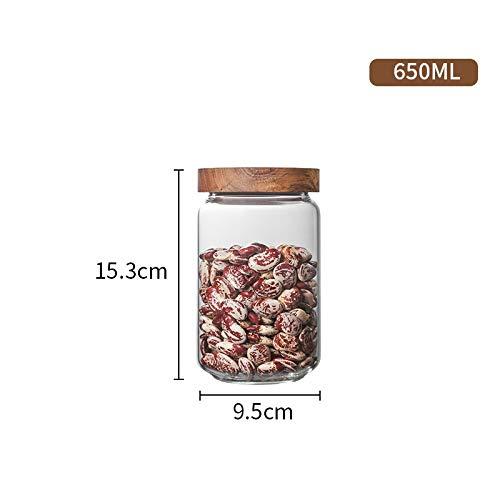 FANXQ Tapa de Madera de Botellas de Vidrio hermético Frasco de Almacenamiento de Cocina Frijoles frascos de Comida para contenedores Granos Granos de café té Caramelo contenedores Jar,0.65L