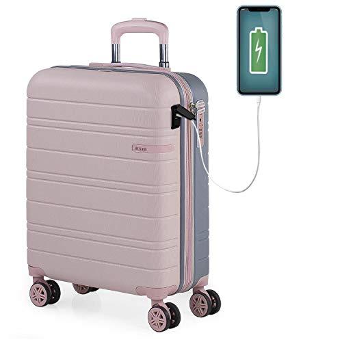 JASLEN - Maleta Cabina Avion Pequeña con Ruedas Rígida [Extensible] Hombre Mujer.[ Conexión para Carga USB]. 4 Ruedas Trolley. Equipaje de Mano. Candado de Seguridad TSA 171250, Color Rosa-Plata
