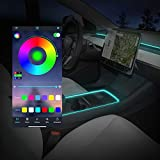 BASENOR 2021 Tesla Model 3 Neon Light Tubes RGB Interior LED Strip Lights with App Controller