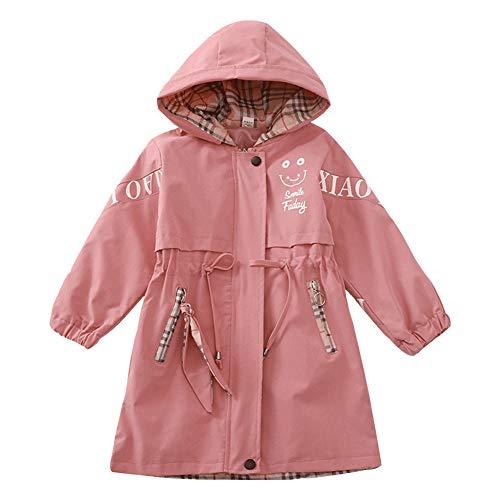 SXSHUN Kinder Mädchen Windjacke Winddicht Jacke Übergangsjacke mit Stickerei Frühling Herbst Outwear Oberbekleidung, Rosa, 9-10 Jahre(Größenetikett:134-140)