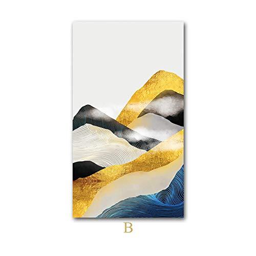 U/N Abstrakte Berg Leinwand Malerei Landschaft Kunstwerk Poster Nordic Print Minimalist Wandkunst Bild für Wohnzimmer Dekor-6