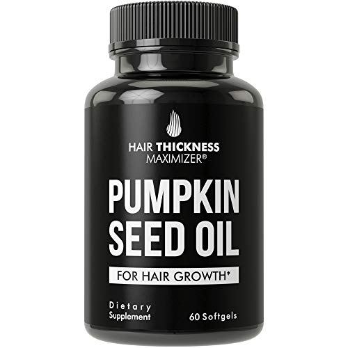 Pumpkin Seed Oil Softgels For Hair Growth. For Men and Women. Cold Pressed, Extra Virgin, Non-GMO, Gluten Free, Hair Loss, Regrowth Pills. From Cucurbita Pepo Extract. 2000 mg Capsules Supplement
