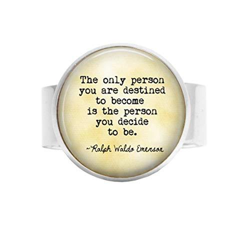aka Ralph Waldo Emerson Ring, Verstellbarer Ring, mit englischsprachigem Zitat, personalisierbar, Geschenk zum Abschluss