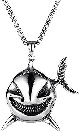 NC198 Collar con Colgante de tiburón con Personalidad de Moda para Hombre, Collar de Acero de Titanio dominante, joyería