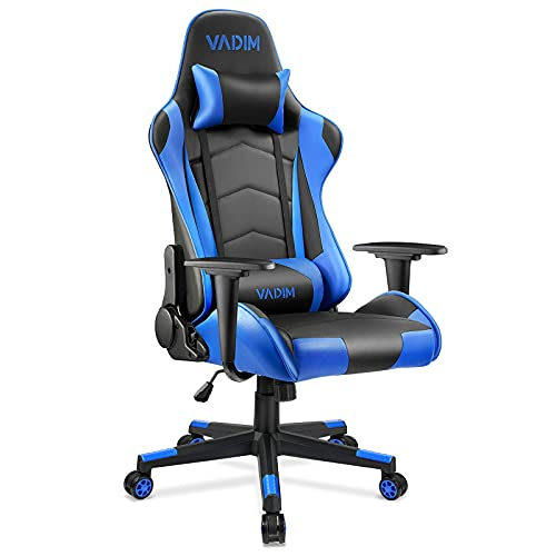 VADIM Gaming Stuhl Bürostuhl, Gamer Stuhl Ergonomischer Schreibtischstuhl Höhenverstellbarer, PU Leder Racing Computerstuhl Einstellbarer Neigungswinkel 155°, 150kg Belastbarkeit, Blau