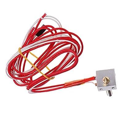 UEETEK 3D Printer Hot End Assembled Extruder Parts 1.75mm Filament 12V 0.4mm Nozzle for Metal DIY