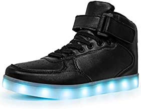LED Light Up Shoes High top Sneakers Flashing Dancing Shoes for Women Men Gift with USB Charging Glowing Luminous Shoes Black