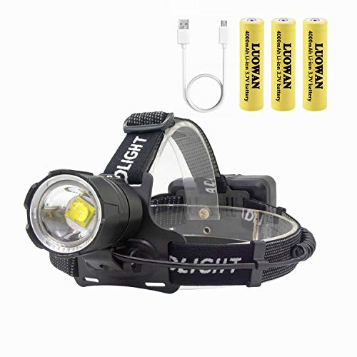 LUOWAN LED Head Torch 12000 Lumens Zooomable Headlamp LED Torchs,...