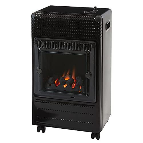 Favex - Chauffage d'appoint à gaz Ektor Fire - Prêt à l'emploi livré avec tuyau et détendeur - Intérieur - Brûleur Inox Infra Bleu effet feu de cheminée - 3 Puissances de Chauffe -jusqu'à 35 m² - Noir