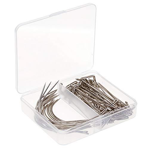 Calistouk 70pcs Aguja Curvada de Tipo en C, Agujas de Coser a Mano T Pins de Tejer para Fabricación de Pelucas Cuero Alfombra Lonas Reparación Modelado Artesanía(con caja)