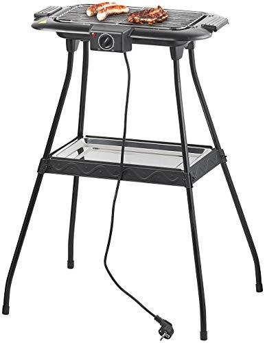 Rosenstein & Söhne Grill: Elektrischer 2in1-Stand- und Tischgrill mit Ablage-Tablett, 2.000 Watt (Elektrostandgrill)