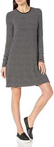 Amazon Essentials Women s Long Sleeve Crewneck Swing Dress Black Thin Stripe Large product image