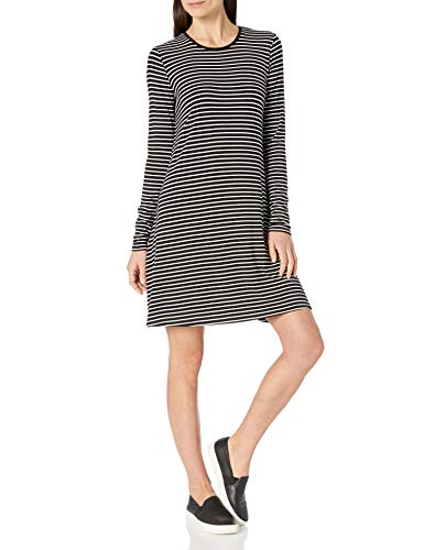 Amazon Essentials Long-Sleeve Crewneck Swing dresses, Schwarze, dünne Streifen, L