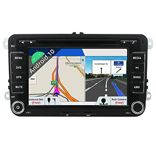 JOYX Android 10 Autoradio Passt für VW Passat/Golf/Skoda/Seat - GPS 2 Din - Rückfahrkamera Mikrofon Canbus KOSTENLOS - 2G+32G - 7 Zoll -Unterstützen DAB Sat Navi Lenkradsteuerung 4G WiFi BT5.0 Carplay