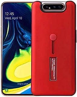 غطاء حماية 360 درجة مع مسكة ماركة زر لجهاز سامسونج جالكسي A80 - A90 - احمر
